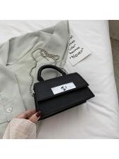 Solid Retro PU Fashion Hasp Shoulder Bag