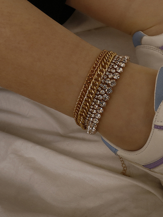 Lady Mixed Rhinestone And Chain Anklet For Beach