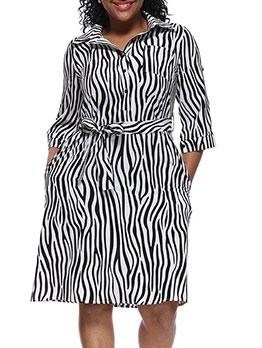 Button Up Half Sleeve Printed Shirt Dress