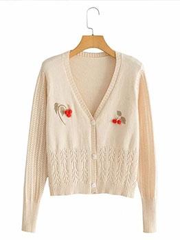 Cherry Embroidery Apricot Women Knitting Cardigan