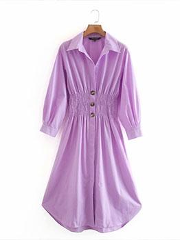 Ruched Waist Purple Long Sleeve Shirt Dress