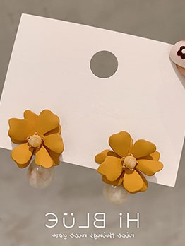 Stereo Flower Sweet Style Short Drop Earrings