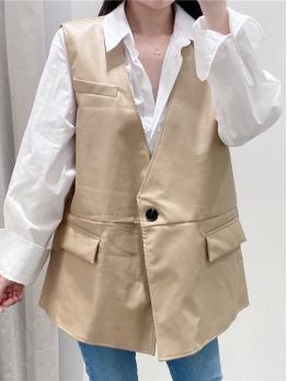 One Button V Neck Sleeveless Pu Vest For Women