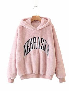 Embroidery Pink Loose Fleece Hoodies For Ladies