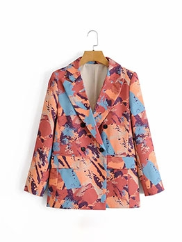 Double-Breasted Graffiti Printing Casual Blazer