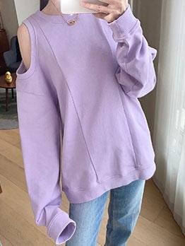 Cold Shoulder Loose Purple Pullover Sweatshirt