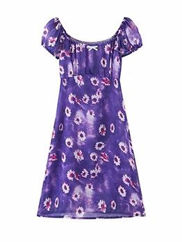 Sunflower Print Short Sleeve Ladies Dress