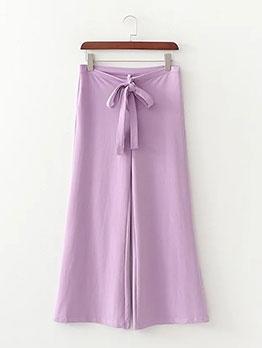 Cross Belt Tie Wrap Wide Leg Purple Trousers