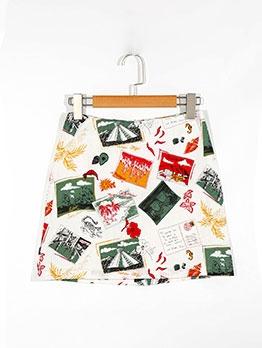 Pics Print High Waist A-Line Skirt For Women