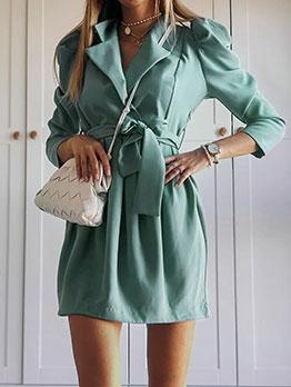 Temperament Pure Tie-Wrap Long Sleeve Mini Dress