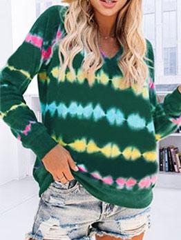 Casual Long Sleeve V Neck Tie Dye Sweatshirt