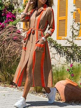 Fashion Stripe Tie-Wrap Maxi Dress With Pocket