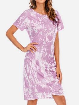 Fashion Short Sleeve Crew Neck Tie Dye Dress