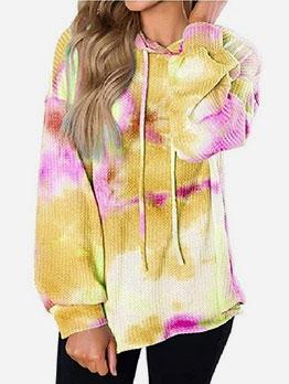 Fashion Long Sleeve Tie Dye Hoodie For Women