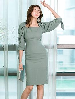 Elegant Pure Puff Sleeve Bodycon Midi Dress