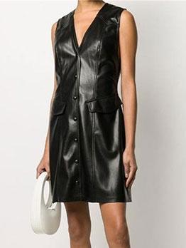Fashion Pu V Neck Button Sleeveless Dress