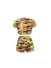 Camouflage O Neck High Waist 2 Piece Shorts Set