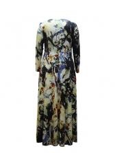 Large Hem Mixed Color Plus Size Maxi Dress