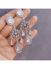 Baroque Style Rhinestone Water Drop Dangle Earrings