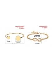 Solid Number 8 Glossy Bracelet Set For Street