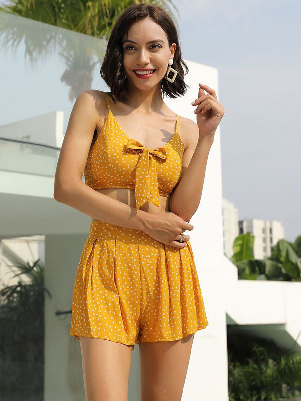 Vacation Bow Knot Dots Camisole Two Piece Sets