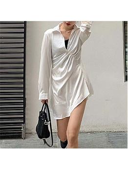 Plain Pleated Women Long Sleeve Dress