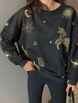 Office Lady Pullover Women Print Sweatshirt
