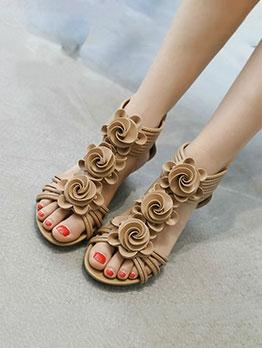 Hot Sale Solid Flower Decorated Zipper Women Sandals