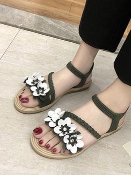 Easy Match Sweet Flower Decoration Lady Flat Sandals