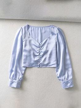 Vintage V Neck Single-Breasted Long Sleeve Blouse