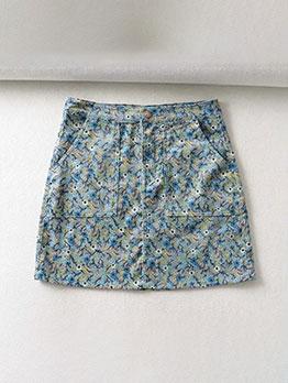 Stylish Printed Pockets High Waist A-line skirt