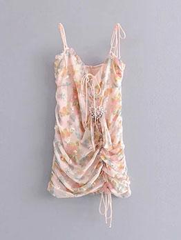 Sweet Heart Faux-Pearl Camisole Pleated Dress