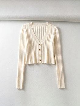 Solid Color V Neck Loose Cropped Cardigan