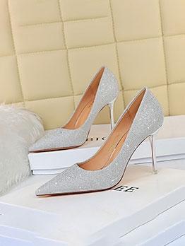 Euro Style Pure Glitter Stiletto Heels For Women