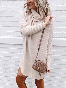 Casual High Cowl Neck Long Sleeve Sweater Dress