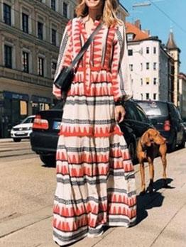 National Geometric Print Long Sleeve Maxi Dress
