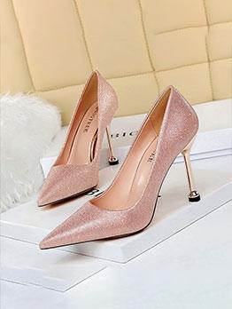 Popular Pointed Toe Glitter Stiletto Heels For Women