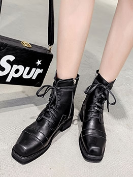British Style Solid Tie-Wrap Ankle Boots For Women