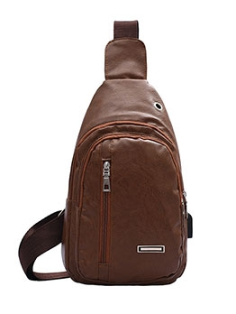 Solid Color Zipper Up Crossbody Bags For Men