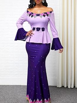 Flare Sleeve Colorblock Plus Size Evening Dress