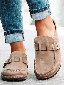 Solid Color Belt Buckle Slip On Shoes For Women