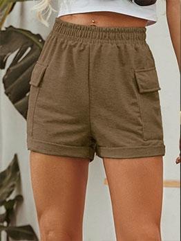 Stylish High Waist Pure Elastic Shorts With Pocket