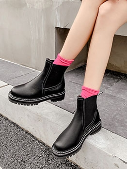 Stylish Pure Round Toe Slip On Ankle Boots