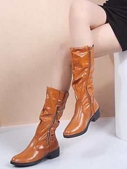 British Solid Round Toe Zipper Mid Calf Boots