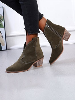 Zipper Suede Chunky Heeled Ankle Boots