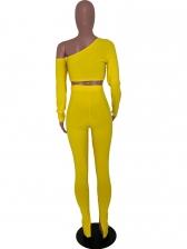 Inclined Shoulder Solid Color 2 Piece Pants Set