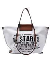 Letter Printing Canvas Large Capacity Toe Bag