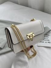 Metal Hasp Solid Color Chain Shoulder Bags