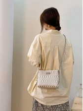 Solid Color Threaded Twist Lock Chain Shoulder Bags