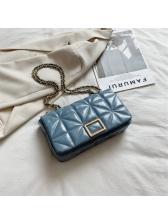 Rhombic Lattice Solid Color Chain Shoulder Bag